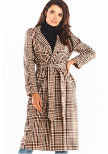 Hnědý dlouhý károvaný kabát s páskem pro dámy