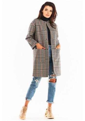 Dámský károvaný kabát bez límce v tmavě modré barvě