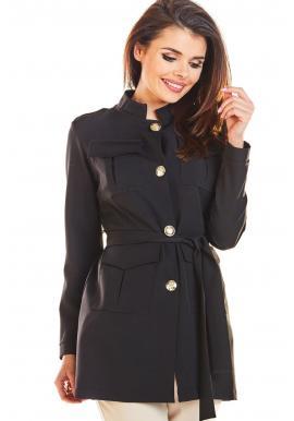 Dámský módní plášť ve vojenském stylu v černé barvě