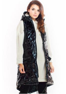 Dámská lesklá vesta s kapucí v černé barvě