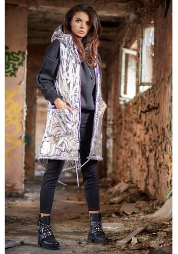 Lesklá dámská vesta stříbrné barvy s kapucí