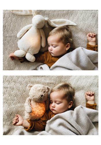 Šumiaci MOONIE medvídek v béžové barvě s podsvícením
