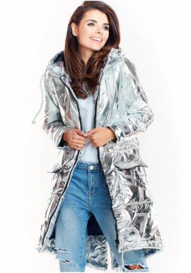 Stříbrná oversize bunda s velkou kapucí pro dámy