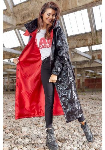 Černý dlouhý plášť s oversize střihem pro dámy