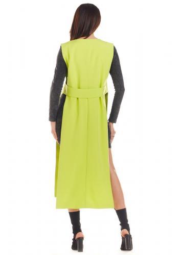 Limetková maxi vesta bez zapínání pro dámy