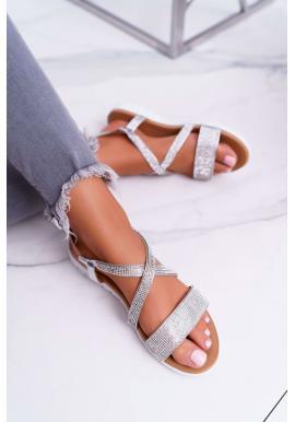Stříbrné módní sandály se zirkony pro dámy