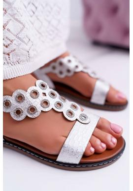 Módní dámské bílé sandály s ozdobnou aplikací