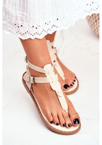 Módní dámské sandály v béžové barvě
