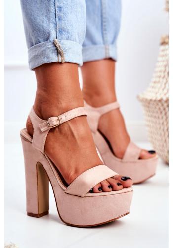 Vysoké dámské růžové sandály na platformě