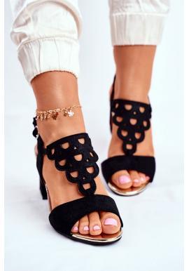 Elegantní dámské černé sandály na hrubém podpatku