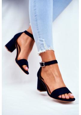 Elegantní dámské semišové sandály na hrubém podpatku černé barvy