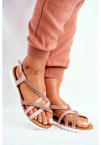 Dámské sandály s kubickými zirkony v růžovo-zlaté barvě