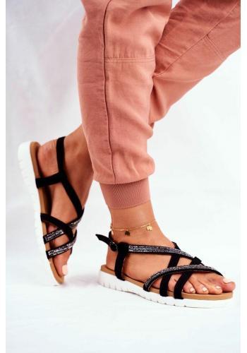 Dámské sandály s kubickými zirkony v černé barvě