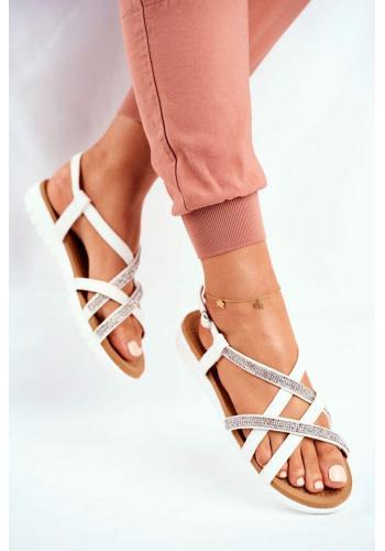 Dámské sandály s kubickými zirkony v bílé barvě