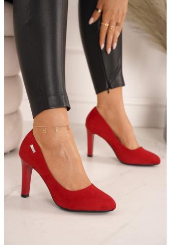 Semišové dámské lodičky na vysokém podpatku v červené barvě