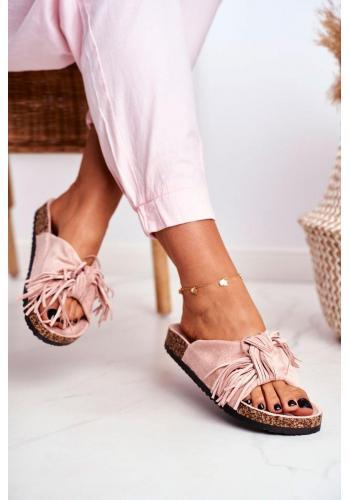 Stylové růžové dámské pantofle s třásněmi na korkové podrážce