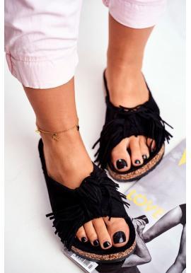 Stylové černé dámské pantofle s třásněmi na korkové podrážce