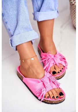 Tmavě růžové dámské pantofle s třásněmi na korkové podrážce