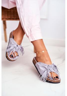Módní šedé dámské pantofle s třásněmi na korkové podrážce