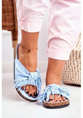 Stylové modré dámské pantofle s třásněmi na korkové podrážce