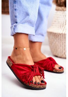 Červené dámské pantofle s třásněmi na korkové podrážce
