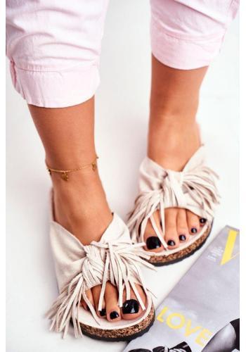 Krémové dámské pantofle s třásněmi na korkové podrážce