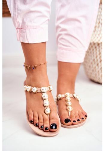 Béžové dámské gumové žabky s ozdobnými perlami