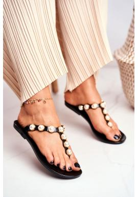 Černé dámské gumové žabky s ozdobnými perlami