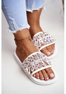 Stylové bílé pantofle s krystaly pro dámy