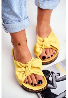Žluté dámské pantofle s mašlí na korkové podrážce