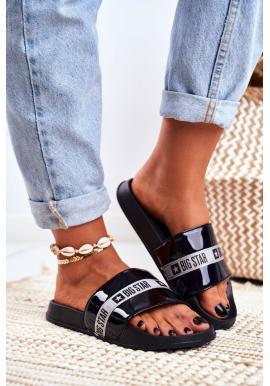 Černé lakované dámské pantofle Big Star