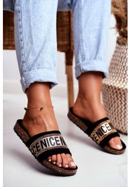 Elegantní dámské pantofle na korkové podrážce ve zlaté barvě