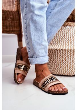 Elegantní dámské pantofle na korkové podrážce v béžové barvě