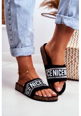 Elegantní dámské pantofle na korkové podrážce v černé barvě