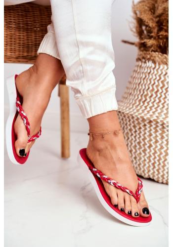 Klasické červené dámské žabky s pleteným páskem