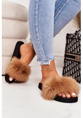 Stylové dámské pantofle s kožešinou v hnědé barvě