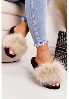 Stylové dámské pantofle s kožešinou v béžové barvě