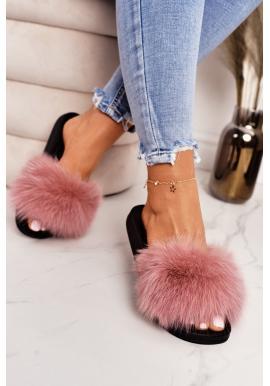 Stylové dámské pantofle s kožešinou v růžové barvě