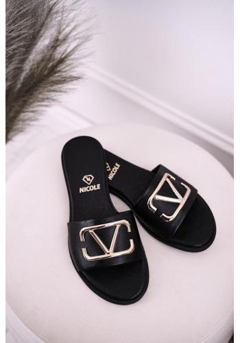 Dámské elegantní kožené pantofle černé barvy se zlatou aplikací