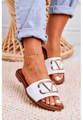 Dámské elegantní kožené pantofle bílé barvy se zlatou aplikací
