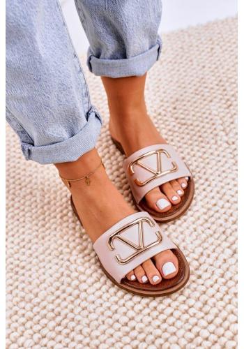 Dámské elegantní kožené pantofle béžové barvy se zlatou aplikací