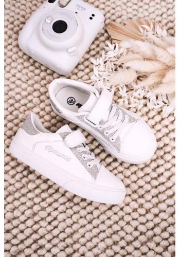 Stylové holčičí bílo-stříbrné tenisky