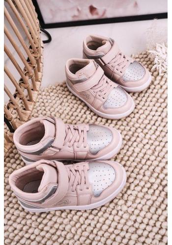 Stříbrno-růžové vysoké tenisky pro dívky