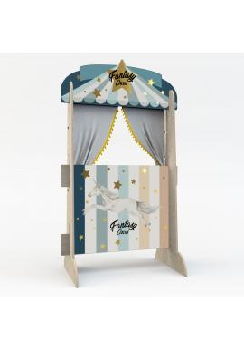 Dřevěná modrá Cirkusová opona pro děti