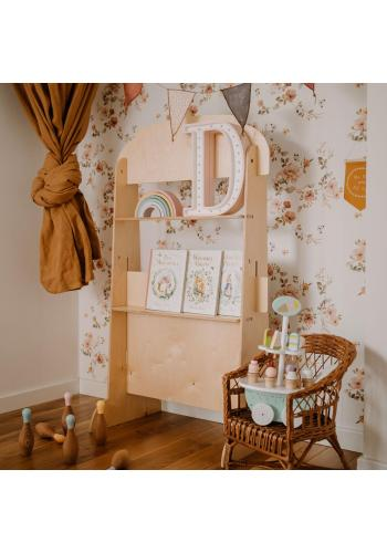 Dřevěná retro opona pro děti - Popcorn stánek
