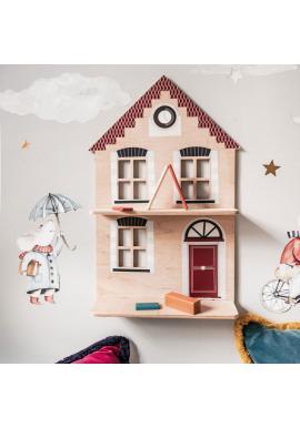 Dětská dřevěná polička ve tvaru domečku