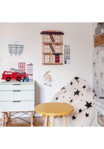 Dětská dřevěná polička ve tvaru domečku z New Yorku