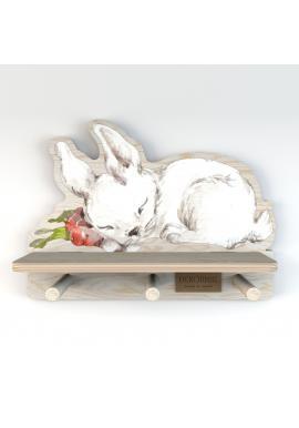 Dětská polička s věšáčky Spící zajíček