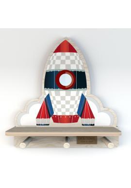 Dětská polička s věšáčky Vesmírná raketa
