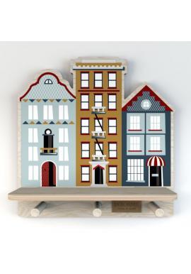 Dětská polička s věšáčky Malé městečko